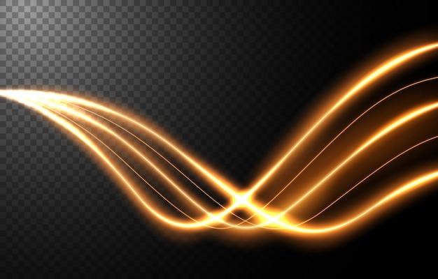 Effet de mouvement de vitesse de la lumière abstraite, traînée de lumière or.