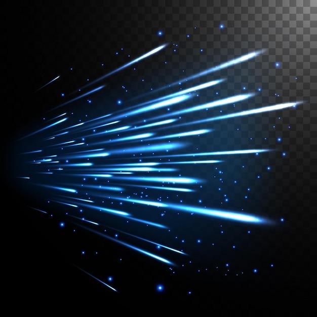 Effet de mouvement de vitesse de la lumière abstraite sur transparent
