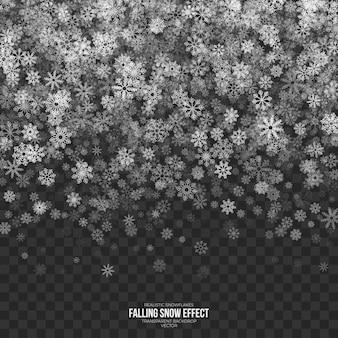 Effet de neige tombant sur fond transparent