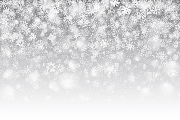 Effet de neige tombant réaliste de noël avec superposition de flocons de neige blancs sur fond argent clair