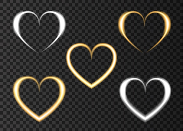 Effet néon coeur doré et argent love light pour happy valentines day