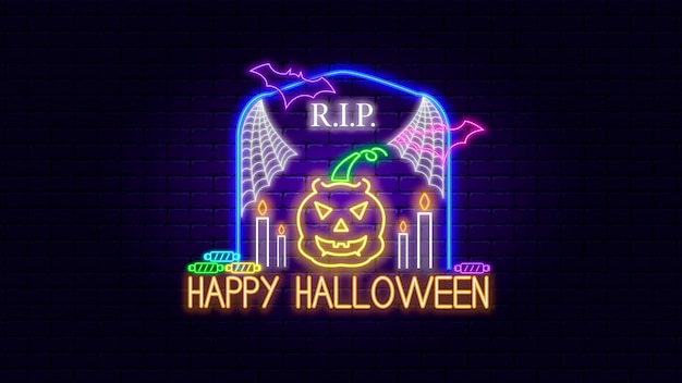 Effet de néon halloween heureux