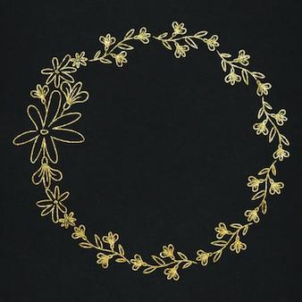 Effet d'or de cadre de couronne de fleurs