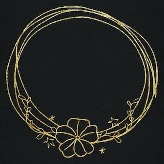 Effet d'or de cadre de couronne florale de vecteur