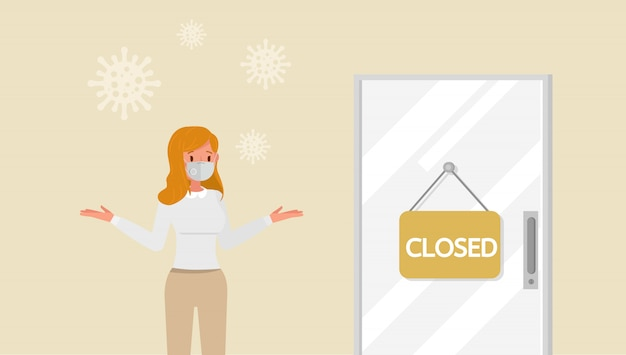 L'effet de la pandémie de coronavirus dans le commerce mondial. magasin fermé en raison de la mise en quarantaine des virus. no2