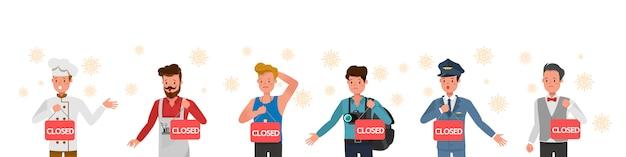 L'effet de la pandémie de coronavirus dans le commerce mondial. magasin fermé en raison de la mise en quarantaine des virus.