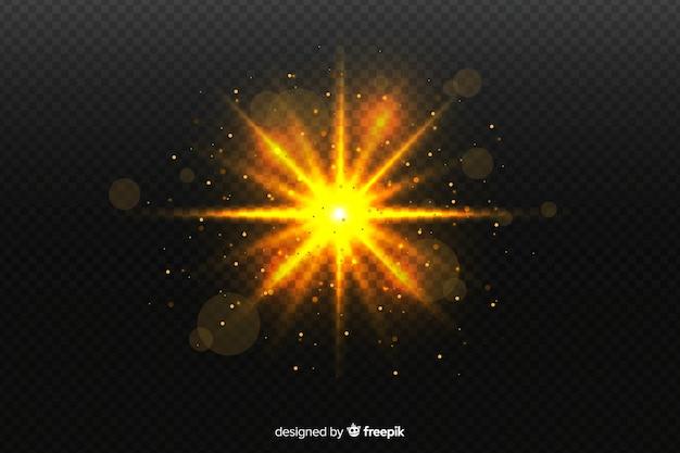 Effet de particules d'explosion scintillante sur fond transparent