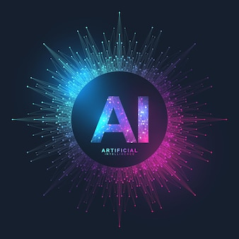 Effet de plexus de logo d'intelligence artificielle. concept d'intelligence artificielle et d'apprentissage automatique.