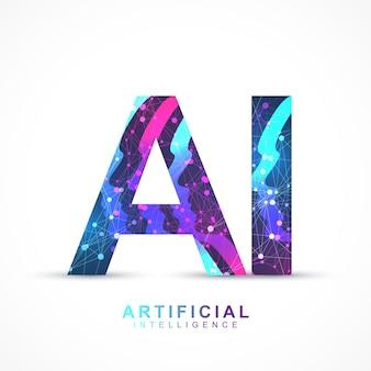 Effet de plexus de logo d'intelligence artificielle.