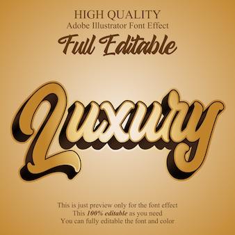 Effet de police de caractères de typographie modifiable script or luxe