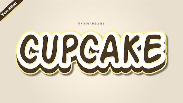 Effet de police modifiable de style 3d de vecteur de conception d'effet de texte de cupcake.