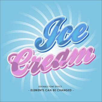 Effet de police pour un produit de crème glacée ou un titre