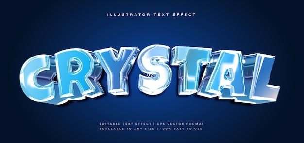Effet de police de style de texte blue crystal chrome