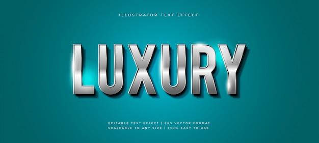 Effet de police de style de texte brillant de luxe argenté