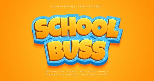 Effet de police de style de texte ludique d'autobus scolaire