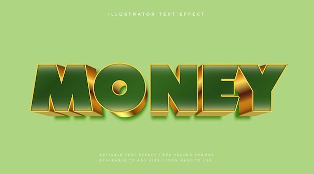 Effet de police de style de texte de luxe vert et or