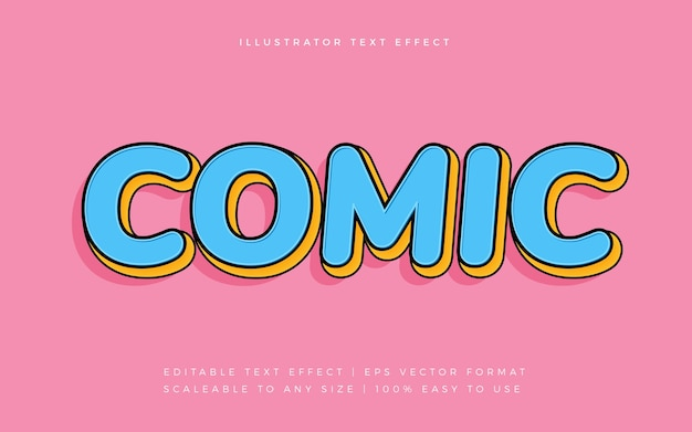Effet de police de texte de style bande dessinée rétro