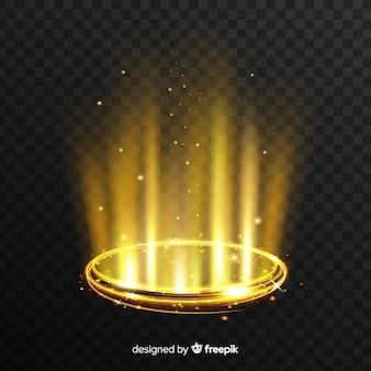 Effet portail de lumière dorée avec fond transparent