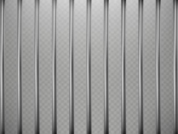 Effet de premier plan des barreaux de prison, isolé sur fond transparent. grille en acier.