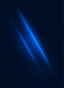 Effet de puissance de rayon lumineux de faisceau de néon vecteur élément bleu flou