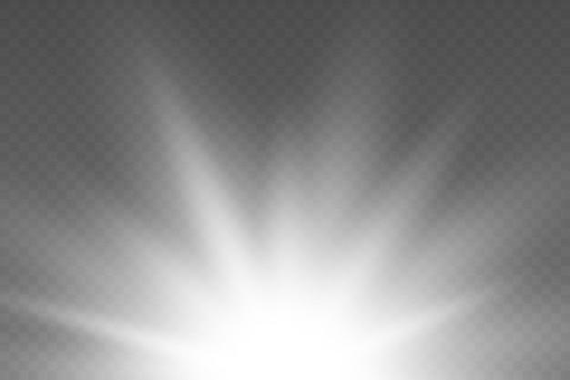 Effet rayon lumière du soleil lumière soleil vecteur lumineux fond éclaté explosion flare flash lueur