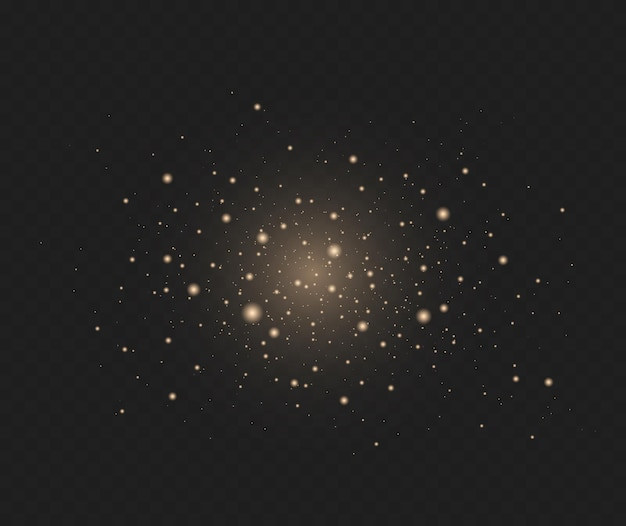Effet scintillant des particules les étincelles de poussière et les étoiles dorées brillent d'une lumière spéciale