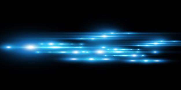 Effet spécial bleu clair. brillant de belles lignes lumineuses sur un fond sombre.