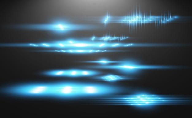 Effet spécial bleu clair brillant de belles lignes lumineuses sur fond sombre