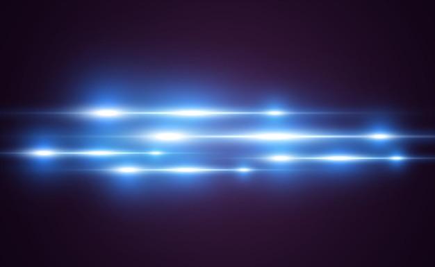 Effet spécial bleu clair. rayures lumineuses rougeoyantes sur fond transparent.