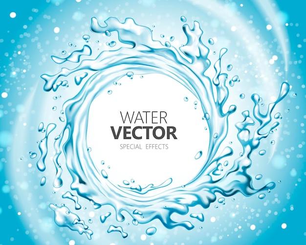 Effet spécial de l'eau, éclaboussures d'eau en forme de vortex