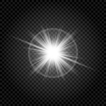 Effet spécial d'éblouissement de la lumière du soleil, transparent et brillant.