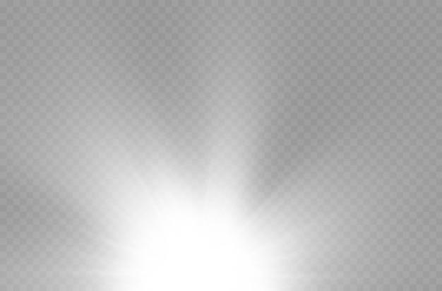 Effet spécial de fusée d'explosion de soleil avec des rayons de lumière et des étincelles magiques étoile blanche brillante