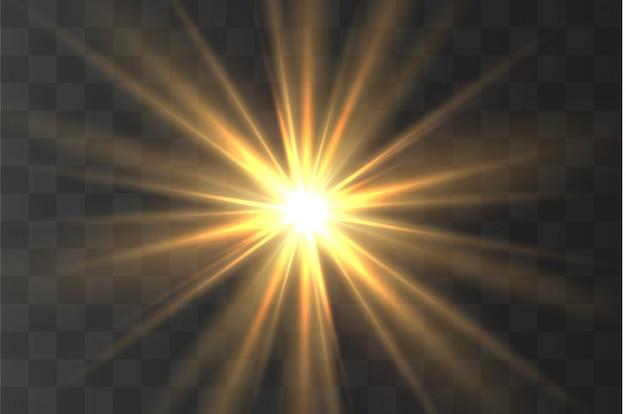 Effet spécial jaune clair avec des rayons de lumière et des étincelles magiques. rayon du soleil .