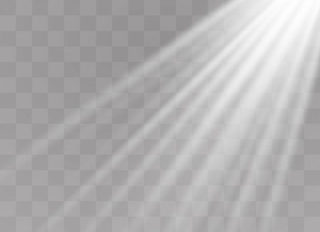 Effet spécial de lumière flare avec des rayons de lumière et des étincelles magiques. ensemble d'effets de lumière transparente lueur, explosion, paillettes, étincelles, flash solaire, éclatement.
