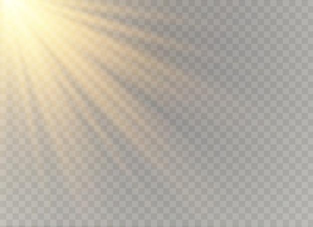 Effet spécial de lumière flare avec des rayons de lumière et des étincelles magiques. ensemble d'effets de lumière transparente lueur, explosion, paillettes, étincelles, flash solaire.
