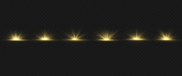 Effet spécial de lumière parasite avec des rayons de lumière et des étincelles magiques