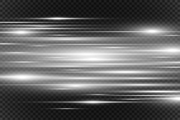 Effet spécial de lumière de vecteur. rayures lumineuses.