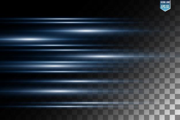 Effet spécial de lumière vectorielle. rayures lumineuses sur fond transparent.