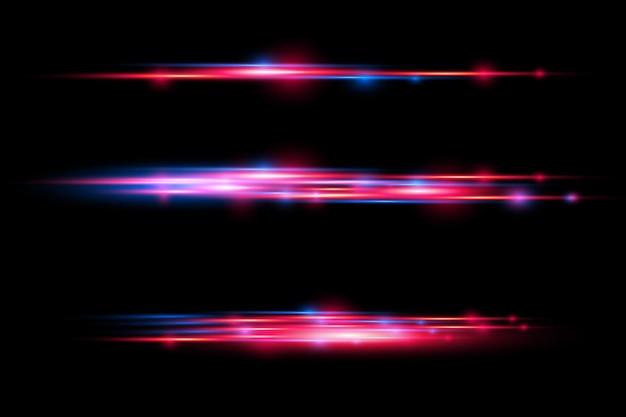 Effet spécial rouge et bleu. faisceaux laser, rayons lumineux horizontaux.
