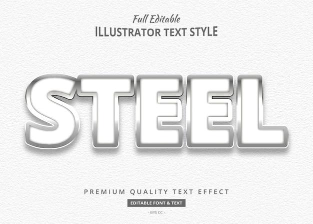 Effet de style de texte 3d en acier blanc