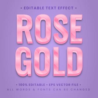 Effet de style de texte 3d brillant en or rose. style de texte d'illustrateur modifiable.