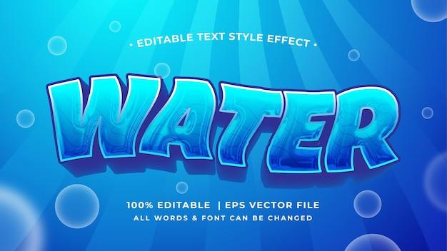 Effet de style de texte 3d de l'eau. style de texte d'illustrateur océanique du monde de l'eau modifiable.