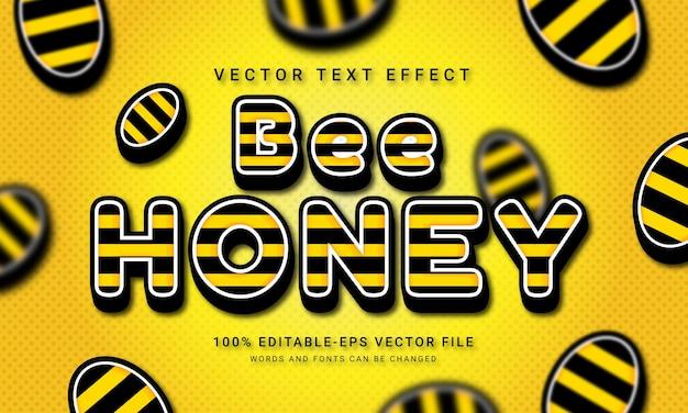 Effet de style de texte 3d de miel d'abeille