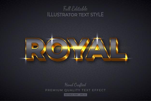 Effet de style de texte 3d modifiable royal gold premium