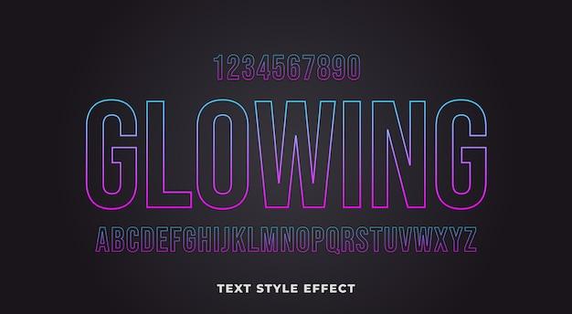 Effet de style de texte de contour brillant avec dégradé de couleurs multiples
