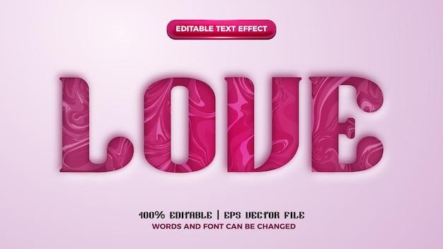 Effet de style de texte de découpe de marbre d'amour modifiable