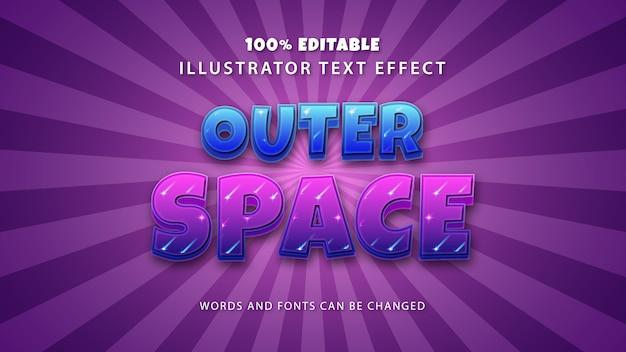 Effet de style de texte de l'espace extra-atmosphérique, texte modifiable