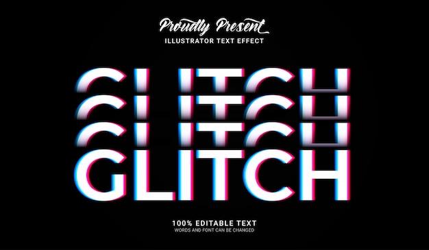 Effet de style de texte glitch. effet de texte modifiable