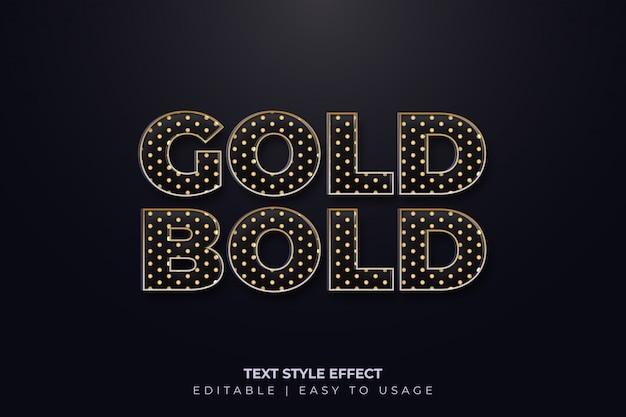 Effet de style de texte en gras avec style à pois dorés