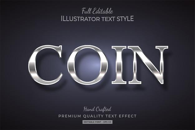 Effet de style de texte métallisé et argenté premium